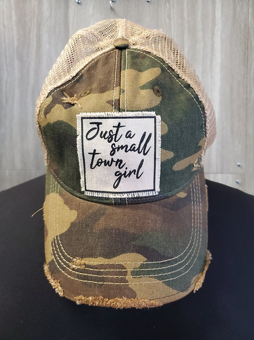JUST A SMALL TOWN GIRL CAMO BASEBALL CAP HAT