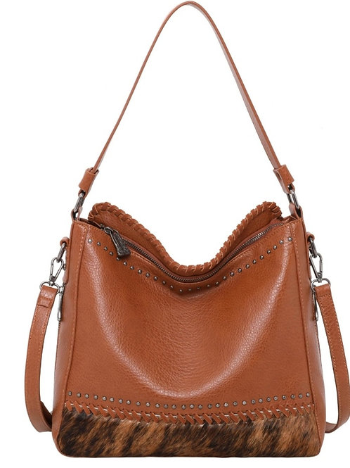 MONTANA WEST HAIR ON CONCEALED CARRY PURSE BAG BROWN #642