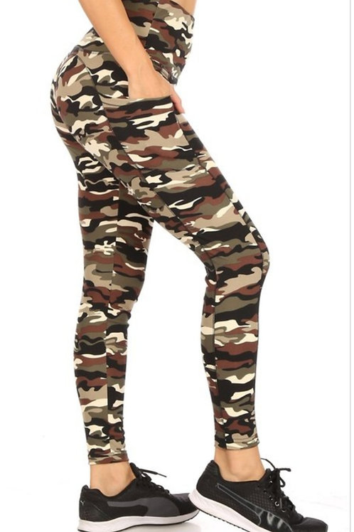 CAMO PRINT ACTIVEWEAR LEGGINGS WITH PHONE POCKETS EXCELLENT QUALITY #239