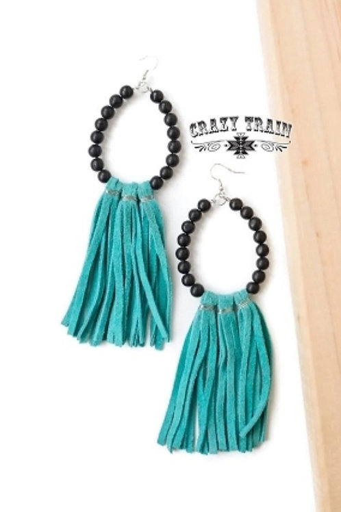 BLACK ONYX EARRINGS WITH TURQUOISE LEATHER BY CRAZY TRAIN #735