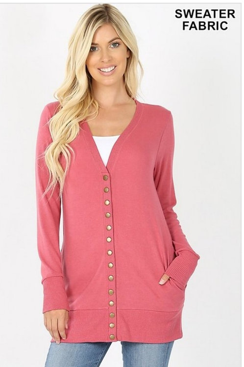 SNAP UP SWEATER CARDIGAN WITH POCKETS IN ROSE, IVORY & BLACK #468