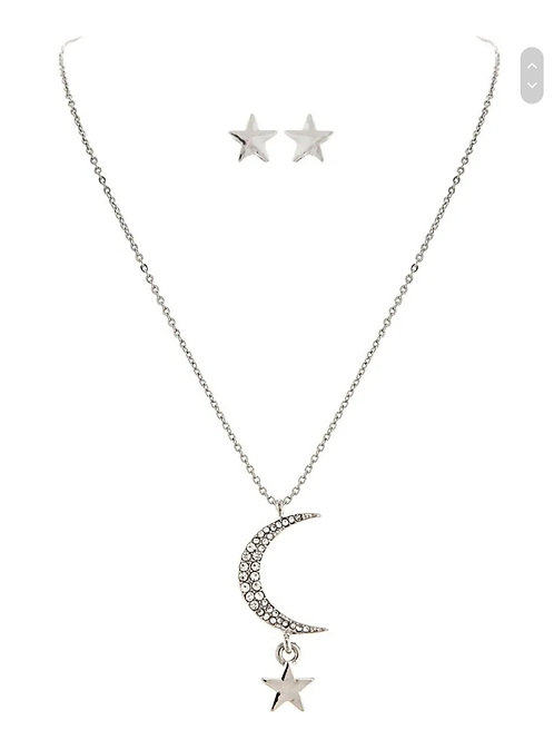 SILVER CRYSTAL MOON & STAR NECKLACE & EARRINGS SET BY RAIN JEWELRY #120
