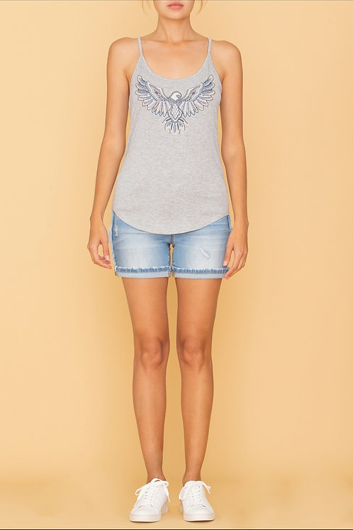 MISS ME BRAND GREY TANK TOP WITH EMBROIDERED EAGLE #257
