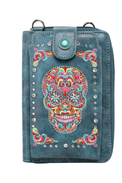 MONTANA WEST PHONE WALLET CROSSBODY SUGAR SKULL PURSE IN TURQUOISE & BLACK #693