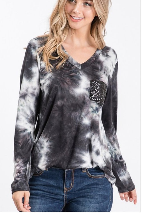 BLACK TYE DYE LONG SLEEVE V-NECK TOP WITH SEQUINS POCKET #515