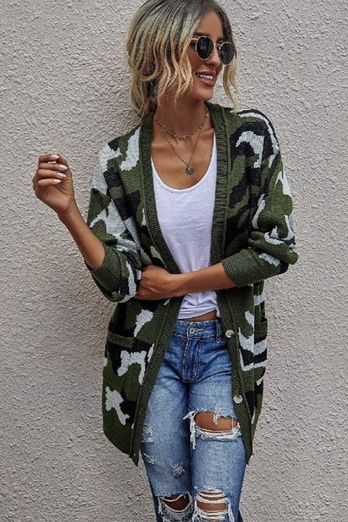 GREEN CAMOUFLAGE SOFT KNIT SWEATER CARDIGAN WITH POCKETS LOOSE FIT #449