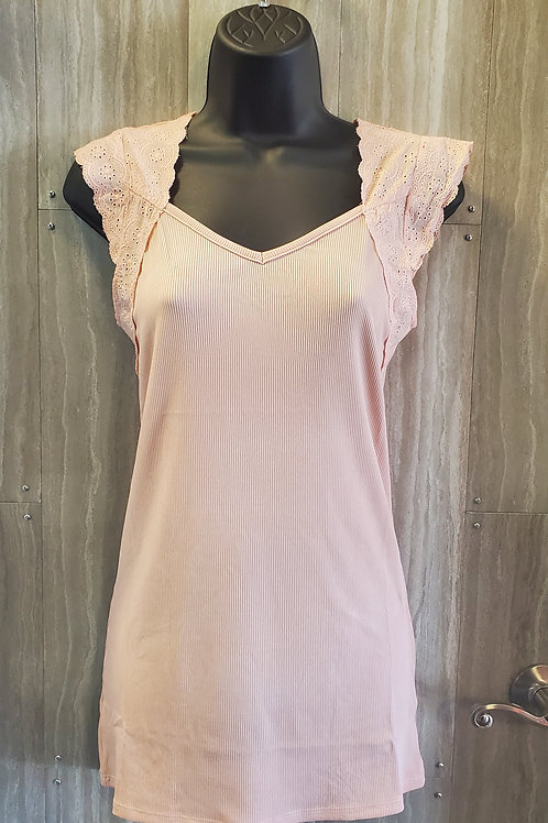 LIGHT ROSE TANK WITH EYELET LACE SLEEVE AND CRISS CROSS BACK DETAIL #068