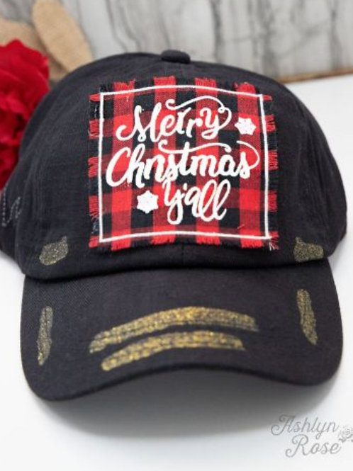 MERRY CHRISTMAS Y'ALL BUFFALO PLAID HAT WITH GLITTER ACCENTS #309