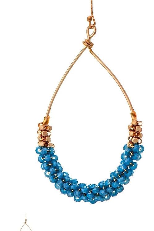 RAIN JEWELRY BLUE BEADED TEARDROP EARRINGS #790