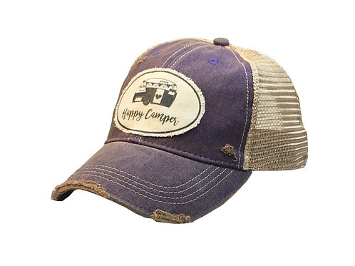 """HAPPY CAMPER"" BASEBALL STYLE CAP HAT #166"