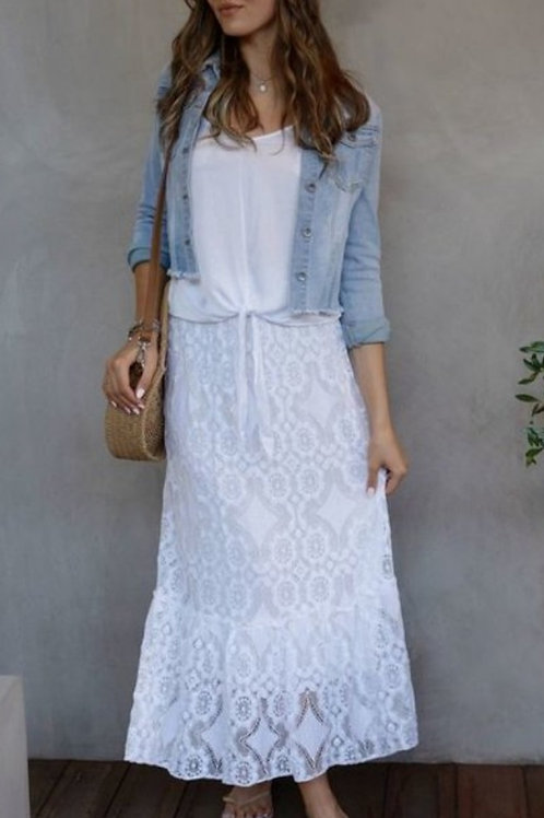 WHITE LACE DIAMOND FLORAL LACE MAXI SKIRT WITH LINING #441