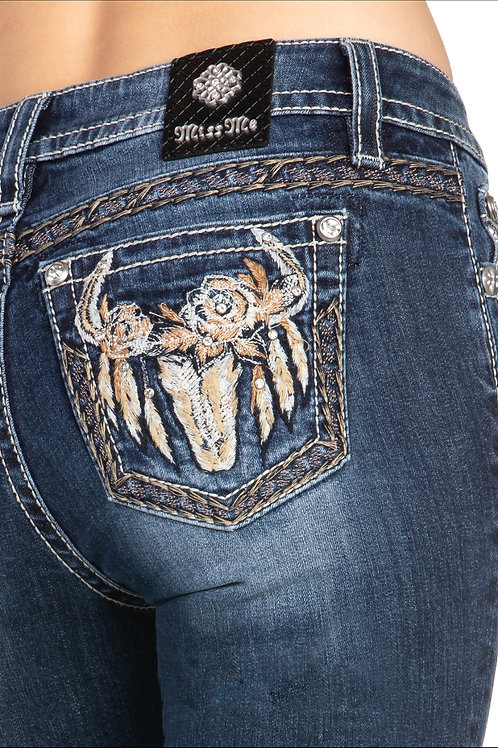 MISS ME BRAND HAILEY SKINNY JEAN WITH EMBROIDERED BULL HEAD #283