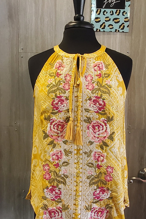 MUSTARD YELLOW EMBROIDERED FLOWERS HALTER TANK TOP #776