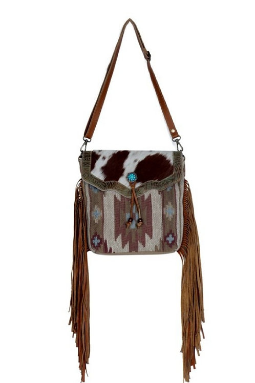MYRA BAG WOVEN COTTON AZTEC PRINT WITH GENUINE HAIR ON LEATHER PURSE #829