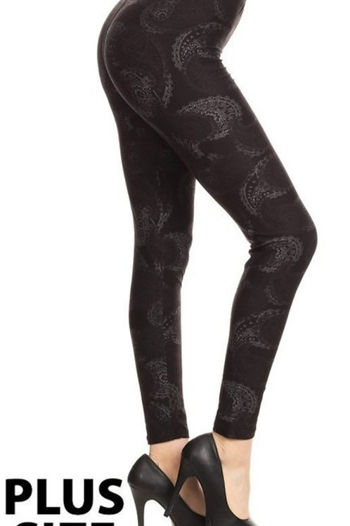 ONE SIZE PLUS FADED PAISLEY PRINT BLACK LEGGINGS FITS APROX. 10 TO 16. #490