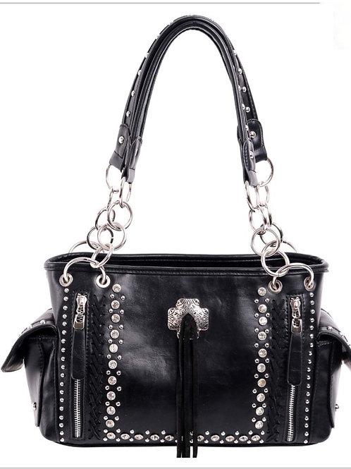 BLACK MONTANA WEST CONCHO CONCEALED CARRY SATCHEL BAG PURSE #270