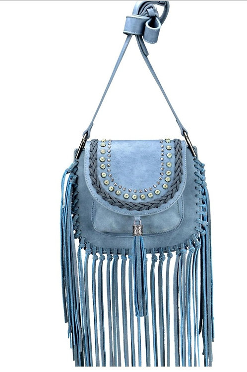 MONTANA WEST MESSENGER STYLE FRINGE PURSE IN BLUE #009
