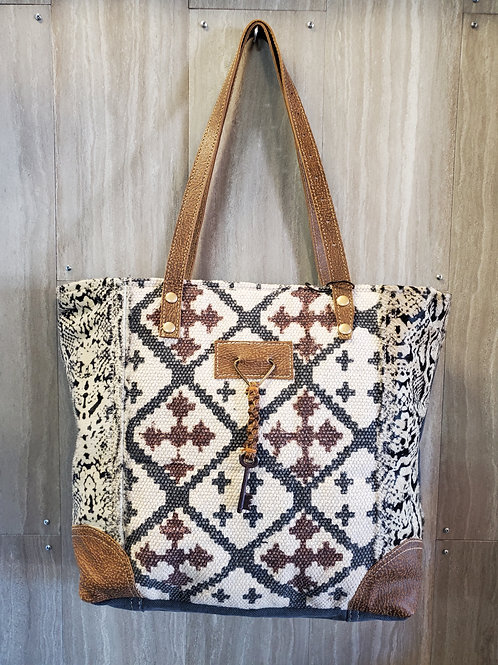 WOVEN COTTON, CANVAS & HAIR ON LEATHER TOTE BAGE PURSE #533