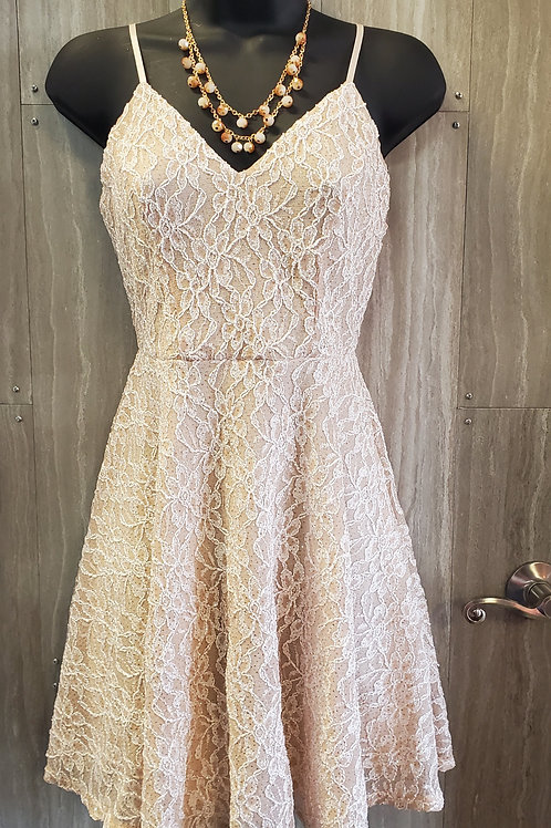 CHAMPAGNE COLORED LACE SEMI-FORMAL DRESS WITH SPARKLES! #065