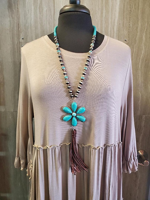 Western style BOHO CHIC turquoise flower necklace with Navajo Beads