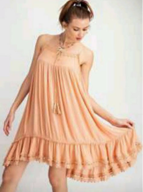 APRICOT ADJUSTABLE SPAGHETTI STRAP DRESS WITH CROCHET DETAILS #242