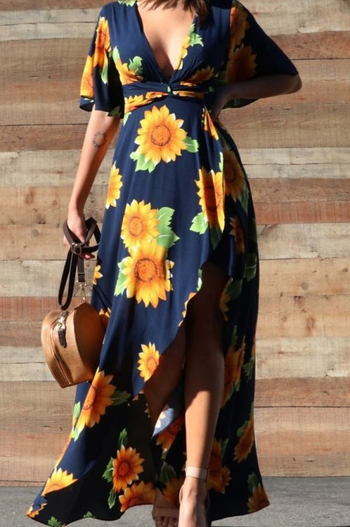 NAVY BLUE SUNFLOWER DRESS #686