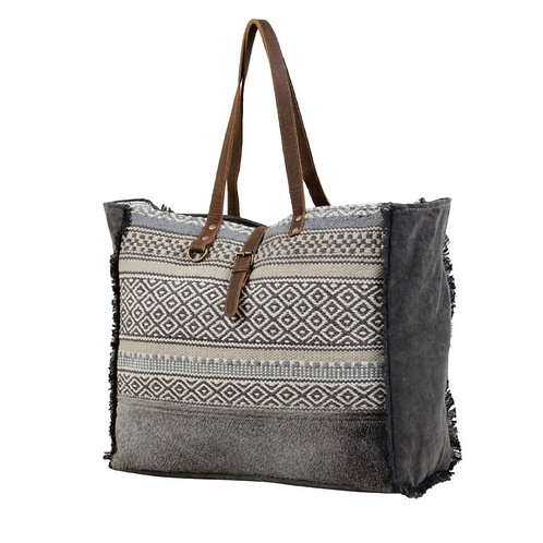 MYRA BAG LARGE WEEKENDER BAG TOTE WITH HAIR ON LEATHER PURSE #827