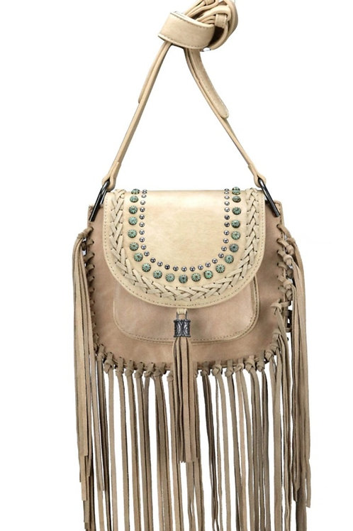 MONTANA WEST CROSSBODY FRINGE PURSE IN TAN #007