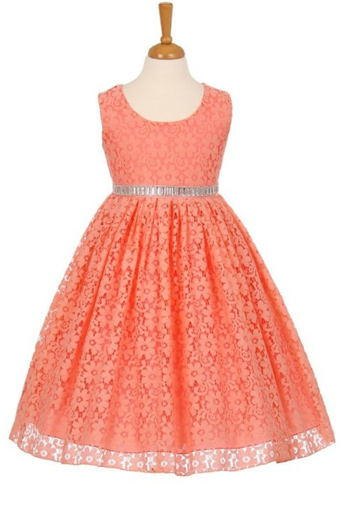 CHILDREN'S CORAL LACE OVERLAY DRESS #630