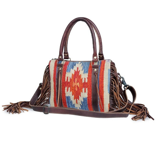 MYRA BAG WOVEN AZTEC COTTON & GENUINE LEATHER PURSE WITH ADJUSTABLE STRAP #825