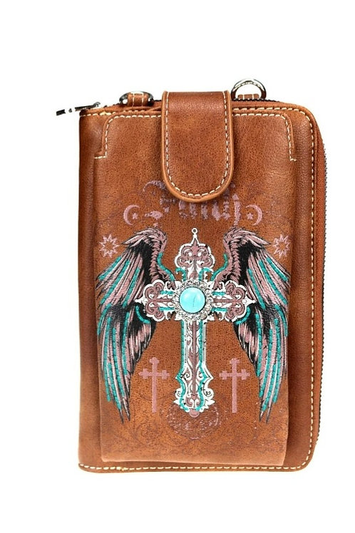 BROWN FAITH CROSS WING PHONE WALLET PURSE MESSENGER STYLE BAG 12 CARD SLOTS #201