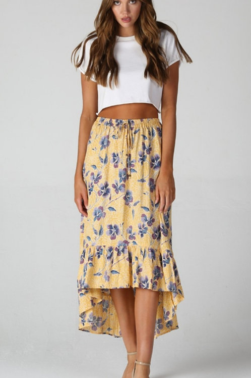 YELLOW FLORAL SKIRT WITH AN ELASTIC WAISTBAND