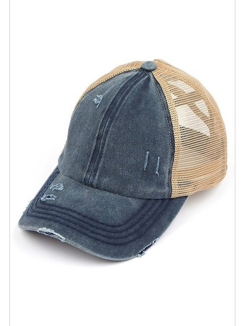 NAVY WASHED DENIM C.C.  ELASTIC PONY CAP HAT #221