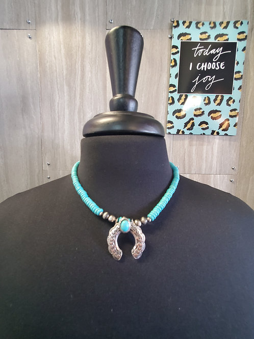 "18"" TURQUOISE NECKLACE WITH BURNISHED SILVER NAJA CHARM"