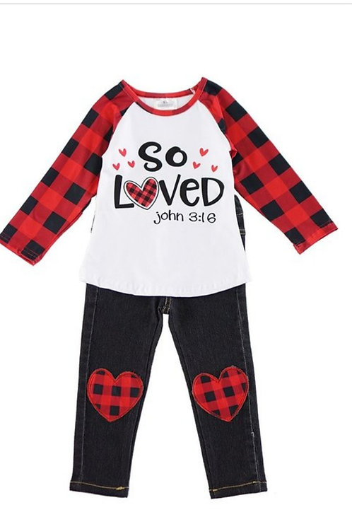 GIRLS SO LOVED  TOP & JEANS SET SIZES 2 TO 10 AVAILABLE #461