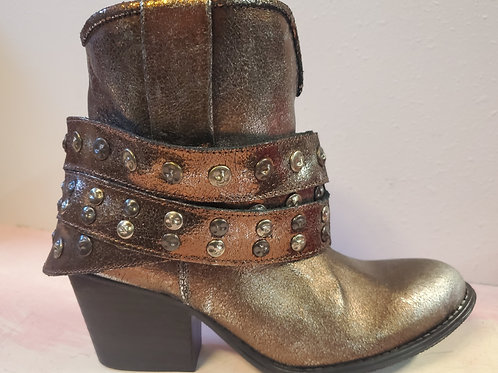 VERY VOLATILE PEWTER COWBOY HEELED BOOT CAN BE WORN 2 WAYS! #435