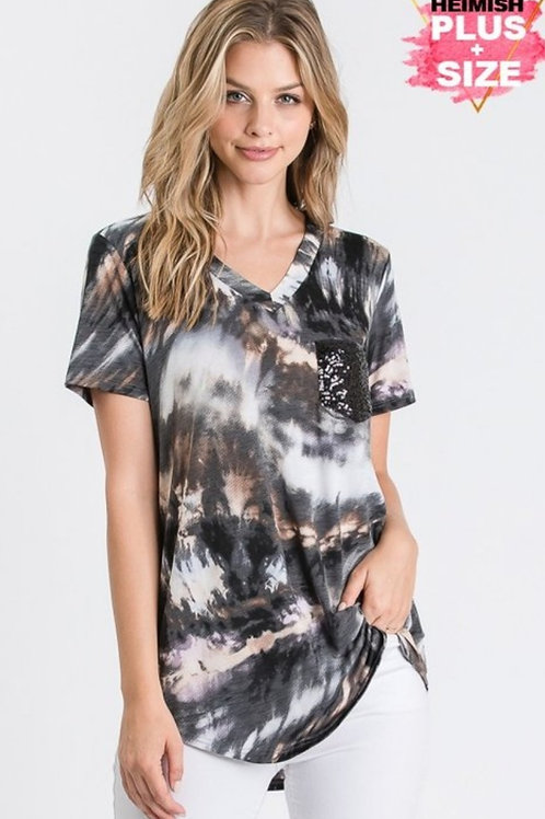BLACK MULTI COLORED TYE DYE PLUS SIZE TOP WITH SEQUINS POCKET #516