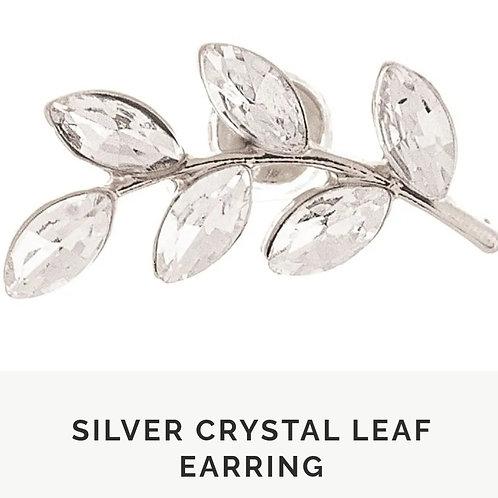 RAIN JEWELRY SILVER CRYSTAL LEAF POST EARRINGS #585