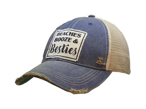 """BEACHES BOOZE & BESTIES "" BASEBALL STYLE  CAP HAT #165"