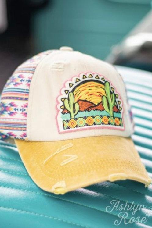 DESERT CACTUS SUNSET HAT WITH AZTEC PRINT DETAIL PONYTAIL CAP #768