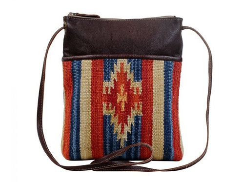 MYRA BAG CANVAS & WOVEN COTTON & LEATHER CROSSBODY PURSE #717