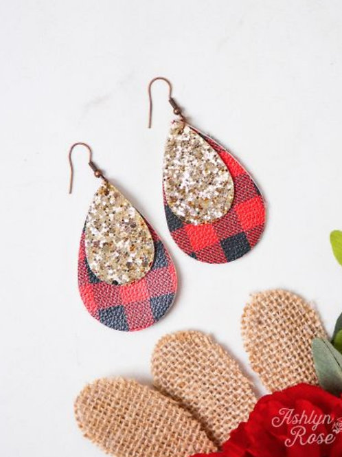 BUFFALO PLAID EARRINGS WITH GOLD GLITTER ACCENTS #319