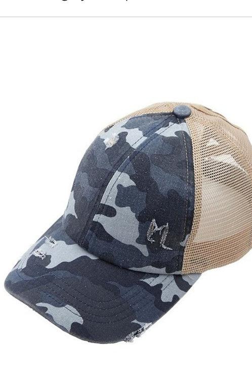 FADED BLUE CAMO C.C. BRAND ELASTIC PONY CAP HAT #215