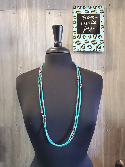 "66"" DANITY GREEN TURQUOISE NECKLACE WITH FAUX NAVAJO PEARL #551"