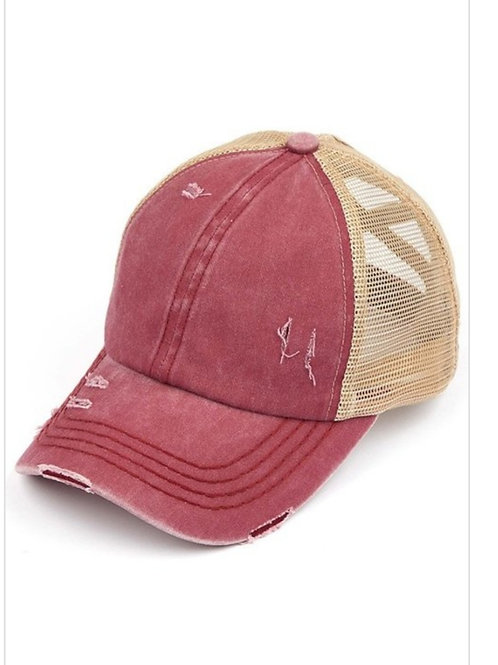 BERRY C.C. WASHED DENIM WITH CROSSED ELASTIC BAND PONY CAP HAT #217