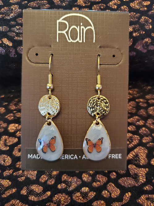 RAIN JEWELRY ENAMEL BUTTERFLY DROP EARRINGS #366