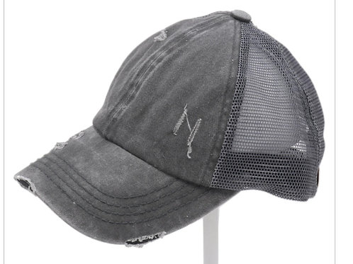 GREY WASHED DENIM CRISS CROSS PONY CC BALL CAP #151