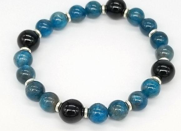 Neon Blue Apatite, Onyx, and Sterling Silver Stretch Bracelet