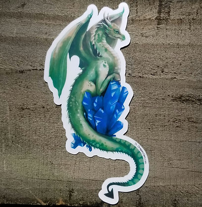 """Green Dragon With Blue Crystal 5"""" Sticker"""