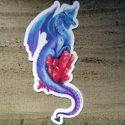 """Purple Dragon With Red Crystal 5"""" Sticker"""